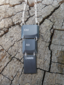 picture of a necklace made from keys on a keyboard.