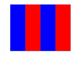 Alternating blue and red bars
