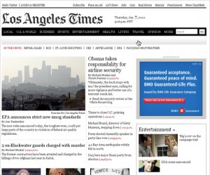 Picture of LA Times home page