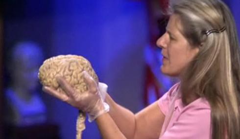 Jill Bolte Taylor holding a brain