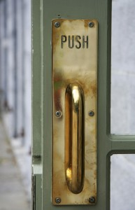 Door Handle that looks like you should pull, but it says Push