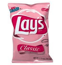 Lays potato chip bag with blue/yellow color blind filter