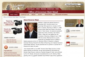 Wyoming State Governor's Web Page