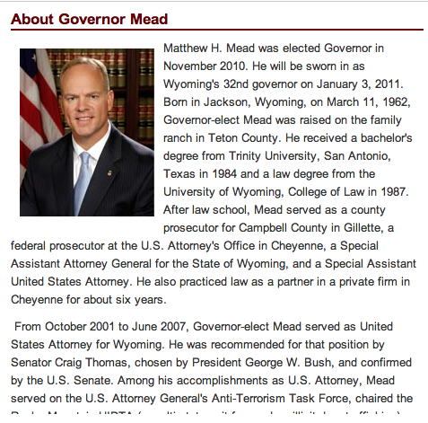 Close Up Of Wyoming State Governor's Web Page