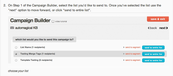 MailChimp Example for Step 2