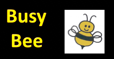 "Picture of a bee with the words ""Busy Bee"""