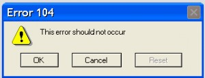 "Error message that says ""This error should not occur"""