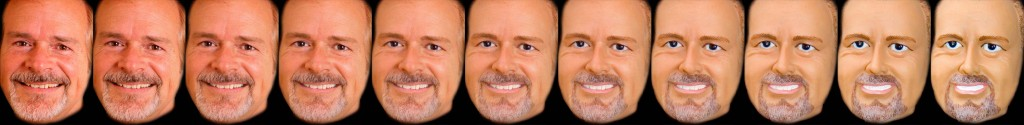 Man's face morphing from human to mannequin