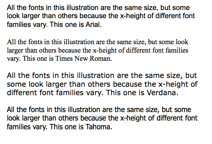 Examples of different fonts