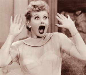 Picture of Lucille Ball looking surprised