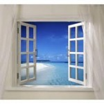 Picture of an open window and a blue sky beyond